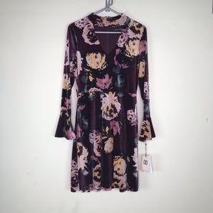 Ivanka Trump Dress Velvet Velour Floral Collar 10